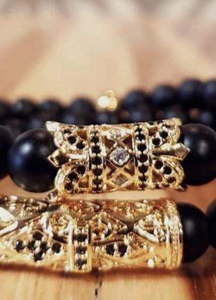 Мужской комплект kaylo из двух браслетов с золотым напылением 18kt