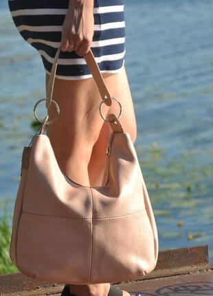 Кожаная женская сумка неаполь пудра