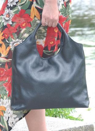 Кожаная женская сумка ницца черная