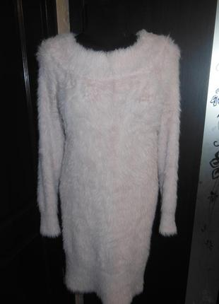 Пушистое , теплое платье, туника свитер