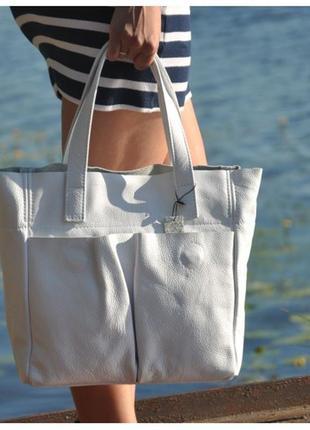 Кожаная женская сумка палермо белая