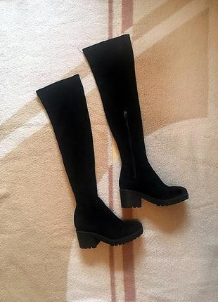 Обалденные замшевые ботфорты-чулки new look (сапоги)