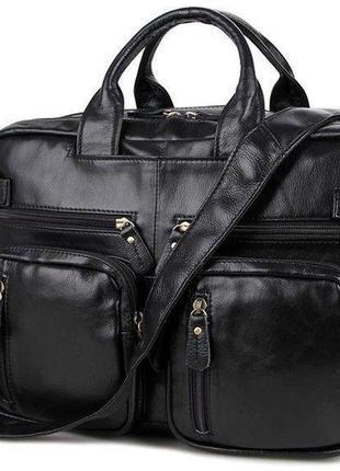 Сумка мужская vintage 14219 трансформер черная