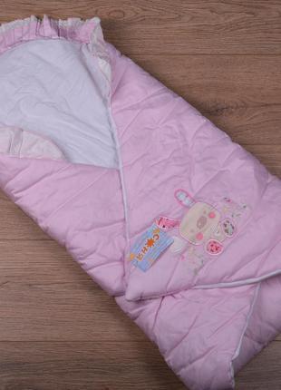 Конверт одеяло для девочки - демисезонный, синтепон, 90х90см (р.56-68)