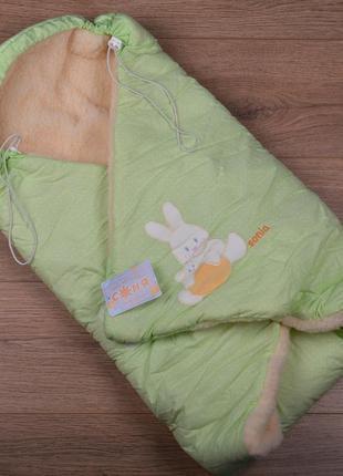Конверт одеяло унисекс - теплый, овчина, 90х90см (р.56-68)