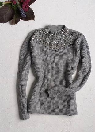Красивейший свитер вязаная кофта украшен бисером и пластинами со стойкой от zebra