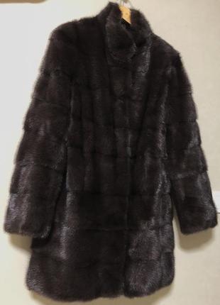 Норковая шубка шоколадного цвета saga furs