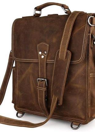 Сумка мужская vintage 14260 трансформер коричневая