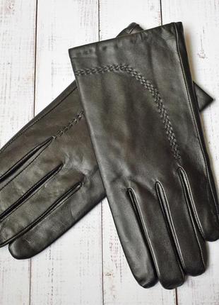 Мод1 перчатки мужские лайковые кожаные зимние с шерстяной подкладкой кожа кожанные черные