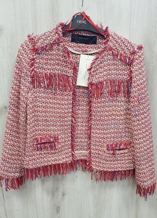 Твидовый пиджак zara xs,твидовыйкоасный пиджак с бахромой zara 34.xs