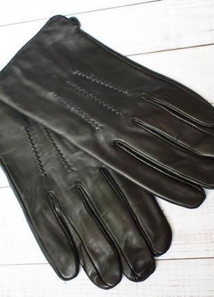 Мод3 перчатки мужские лайковые кожаные зимние кожа кожанные черные