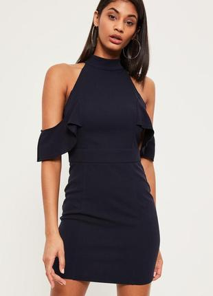 Новое темно-синее платье с открытыми плечами missguided