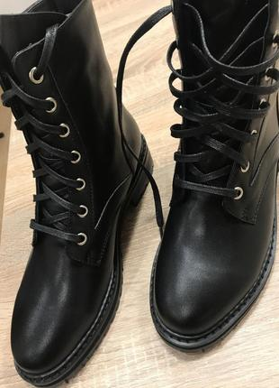 Ботинки идеальные крепкие кожаные прошитые чёрные прочные 38 размер