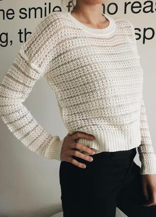 Вязаный  укороченный свитер в сеточку/ кофта / джемпер