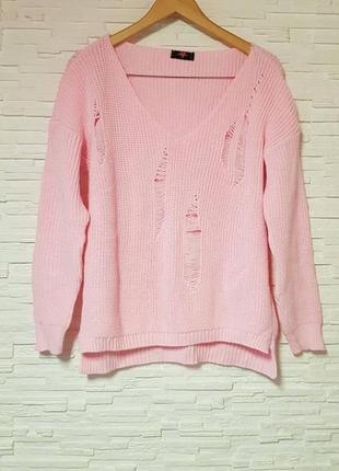 Яркая рваная розовая кофта свитер gorgeous