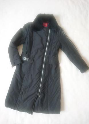 Зимняя куртка пальто пуховик с натуральным мехом