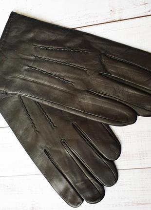 Мод4 перчатки мужские кожаные зимние с шерстяной подкладкой кожа кожанные черные вязка