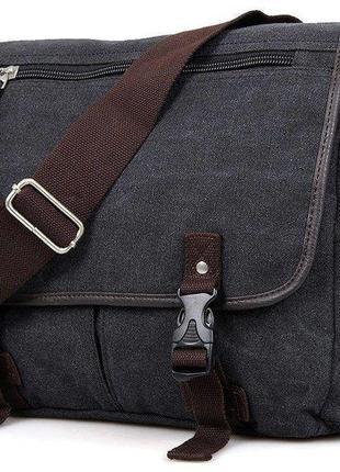 Сумка мужская vintage 14413 текстильная серая