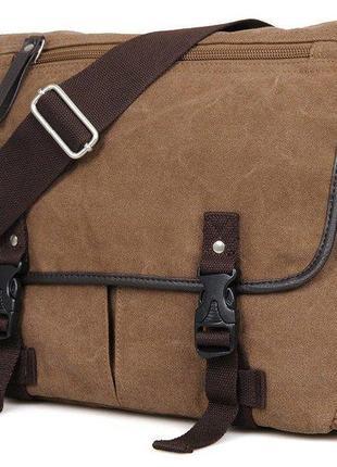 Сумка мужская vintage 14412 текстильная коричневая