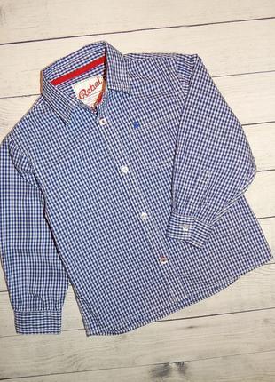 Нарядная хлопковая рубашка в мелкую клетку rebel, для мальчика 5-6 лет, 110-116 рост.