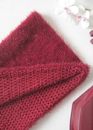 Бордовый двусторонний шарф травка снуд хомут paolo truzzi пушистый плюшевый шарф
