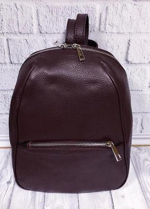 Бордовый кожанный рюкзак кожа италия