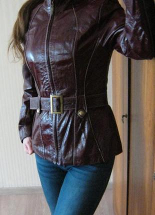 S женская кожаная куртка натуральная кожа демисезонная курточка марсала осенняя весенняя