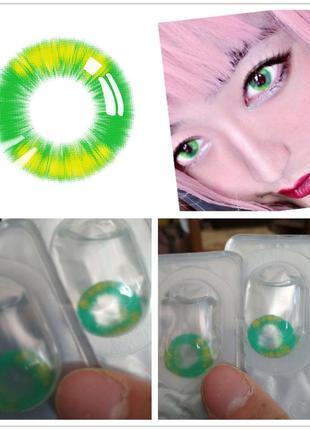 Цветные контактные линзы зеленые косплей хелоуин без диоптрий