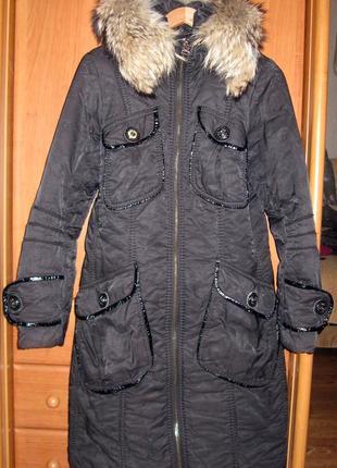 Зимнее болониевое пальто