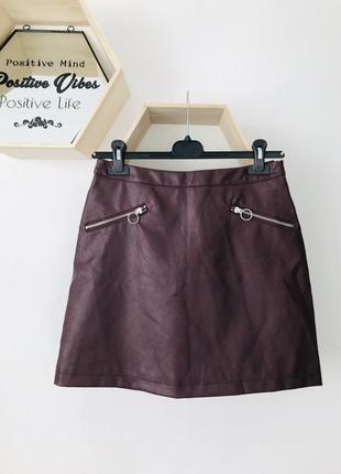 Кожаная юбка с замками юбка цвета марсала
