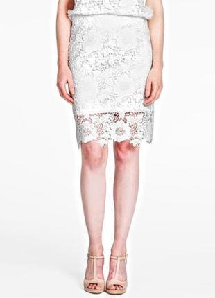 Белая кружевная ажурная юбка карандаш s/m