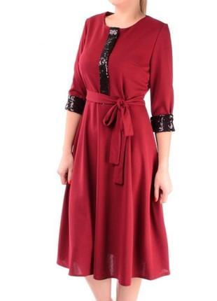 Платье миди с поясом с пайетками