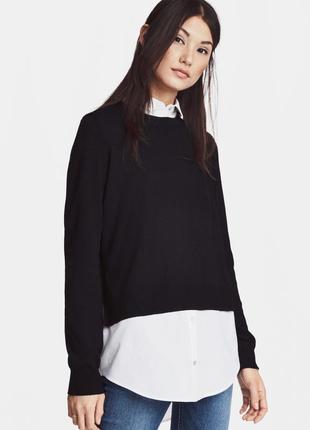 Вязаный джемпер свитер-рубашка с воротником h&m