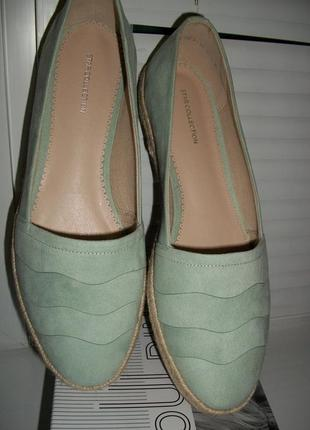 Красивые туфли# мокасины мятного цвета