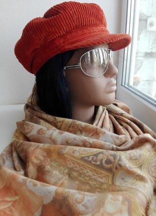 Модный комплект берет вельветовый с шарфом-палантином