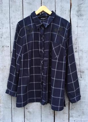 Красивая рубашка в актуальную клетку с вышивкой, удлиненная рубашка свободного кроя 🔥
