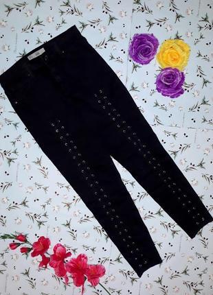 Крутые черные плотные джинсы скинни со шнуровкой topshop, высокие узкие, размер 44-46