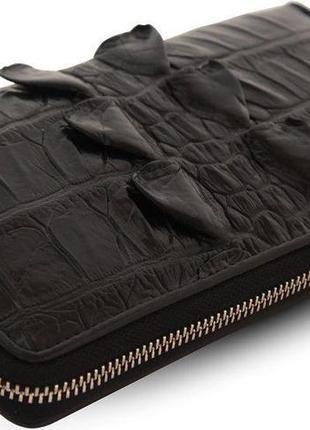 Кошелек-клатч crocodile leather 18024 из натуральной кожи крокодила черный