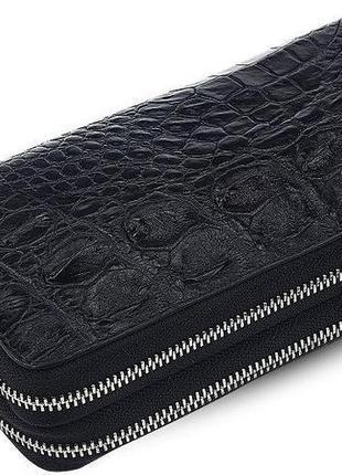 Кошелек-клатч crocodile leather 18023 из натуральной кожи крокодила черный