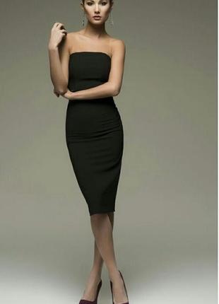Черное миди платье карандаш футляр в обтяжку
