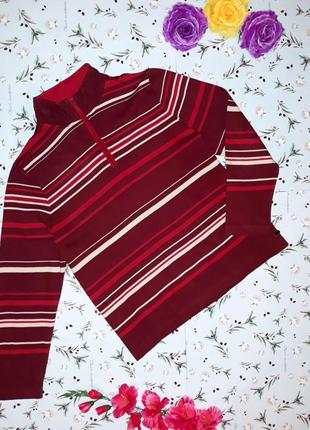 Бордовый свитер в полоску dash, размер 52-54, большой размер
