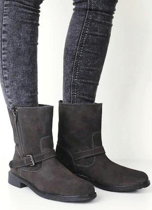 Брендовые деми ботинки серые из натуральной замши 38 р