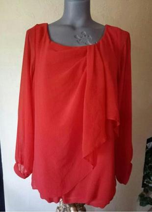 Всегда актуальная красная шифоновая блуза на подкладке 48-50р