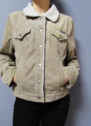 Трендовая вельветовая куртка с овчиной от американского бренда