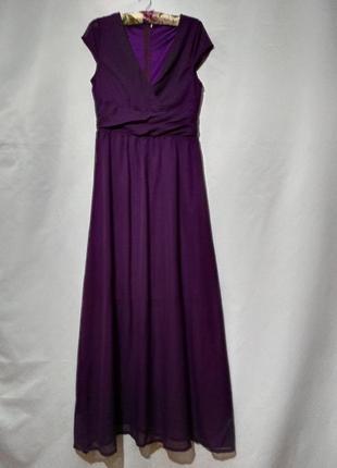 Шифоновое макси  платье с декольте
