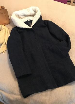 Пальто пальтишко с карманами бойфренд свободное оверсайз house капюшон на замке