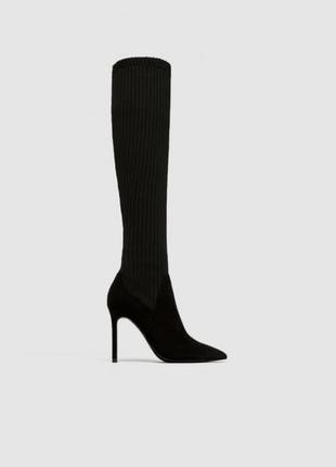 Очень крутые ботфорты-носки zara, черного цвета размер: 36, 38, 39