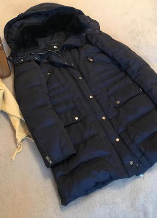 Пуховик куртка пальто zara с карманами мехом капюшоном замке кнопках