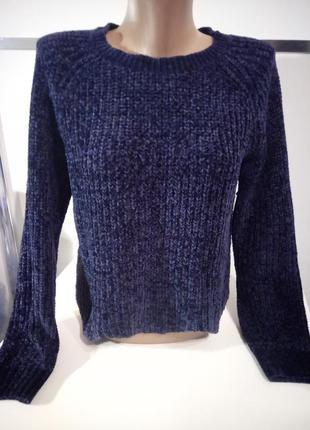 Плюшевый синий свитер s