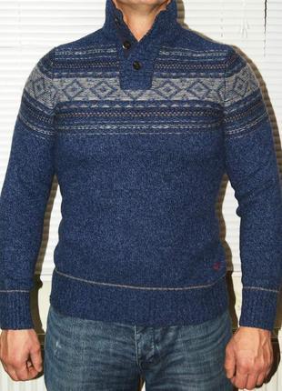 Джемпер сине-серый с пуговицами на горловине 80% шерсть
